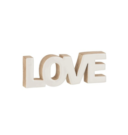 J-line Decoratie Love Mango Hout Wit Large