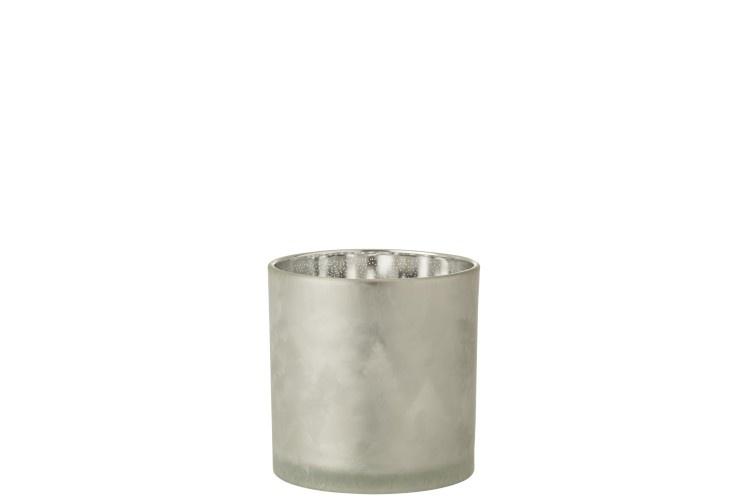 J-line Theelichthouder Dennenboom Glas Lichtgrijs/Zilver Large