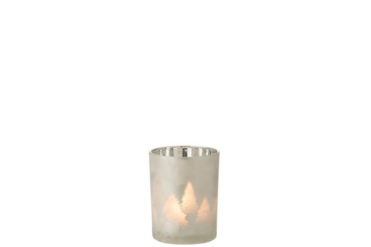 J-line Theelichthouder Dennenboom Glas Lichtgrijs/Zilver Medium
