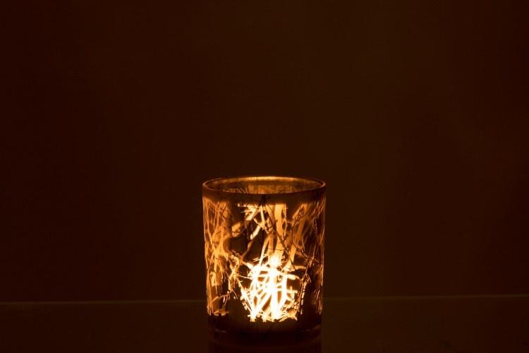 J-line Theelichthouder Takken Glas Grijs Medium