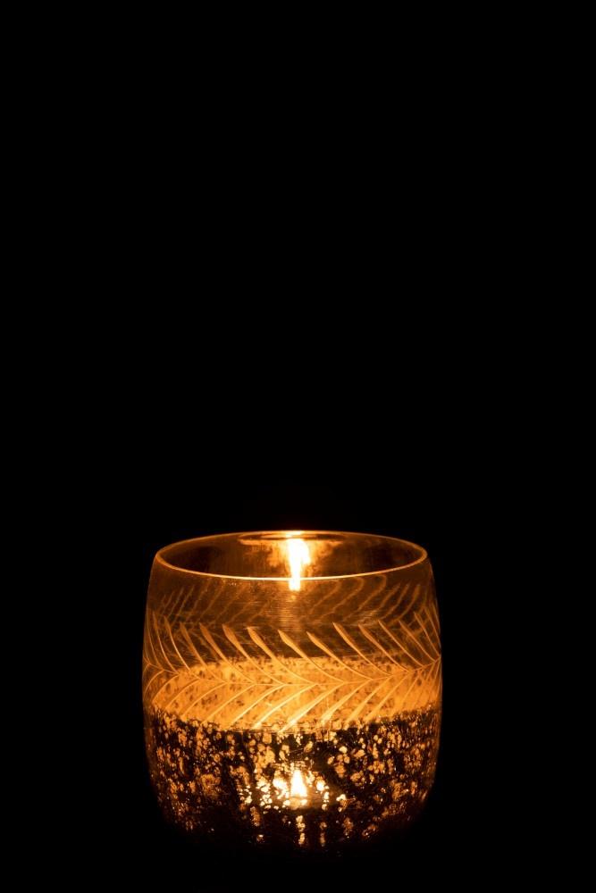 J-line Theelichthouder Klassiek Crackle Glas Transparant/Zilver Large