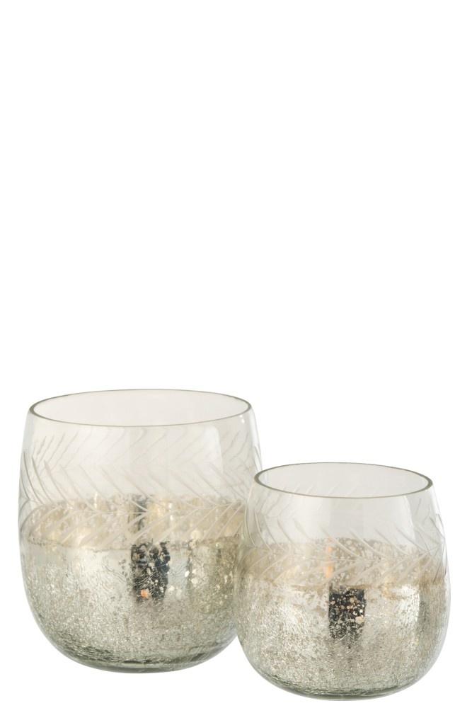 J-line Theelichthouder Klassiek Crackle Glas Transparant/Zilver Small