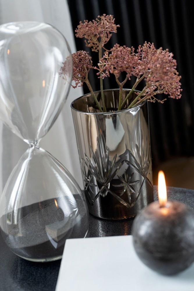 J-line Windlicht Antiek Glas Donkergrijs Large A