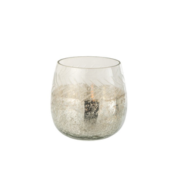J-line Theelichthouder Klassiek Crackle Glas Transparant/Zilver Small