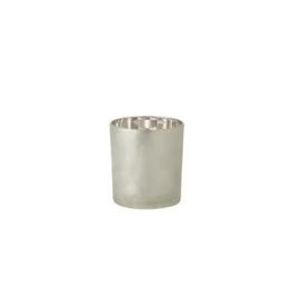 J-line Theelichthouder Dennenboom Glas Lichtgrijs/Zilver Small