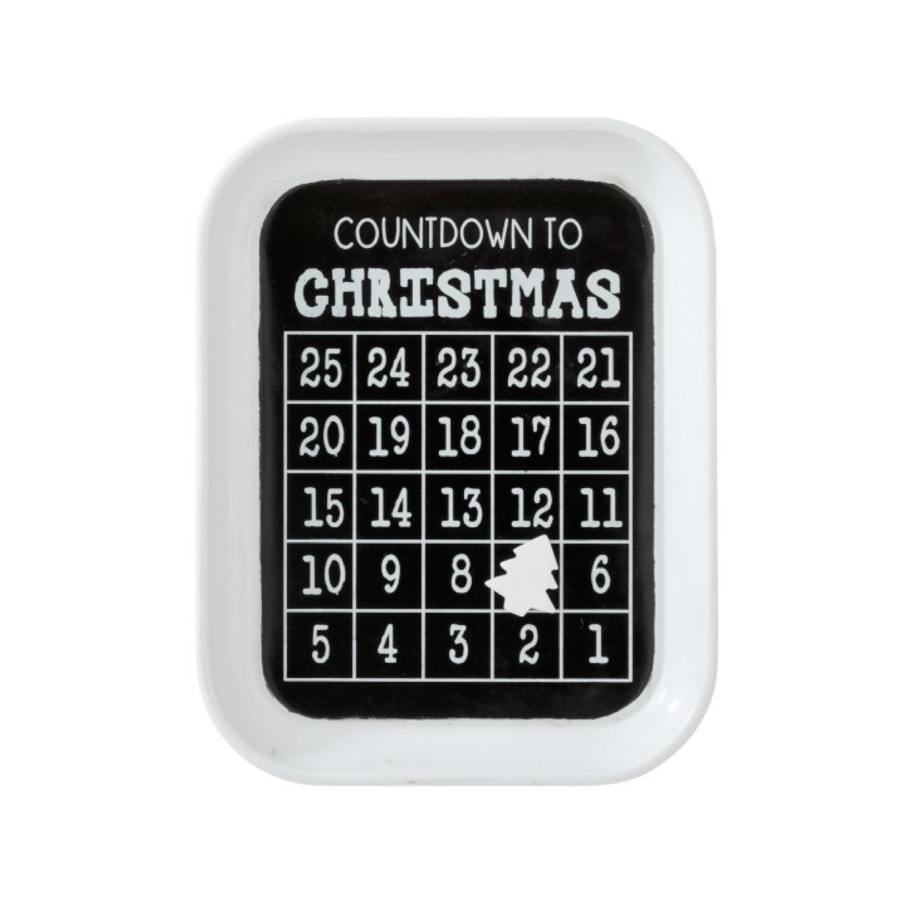 J-line Kalender Kerst December Metaal Zwart
