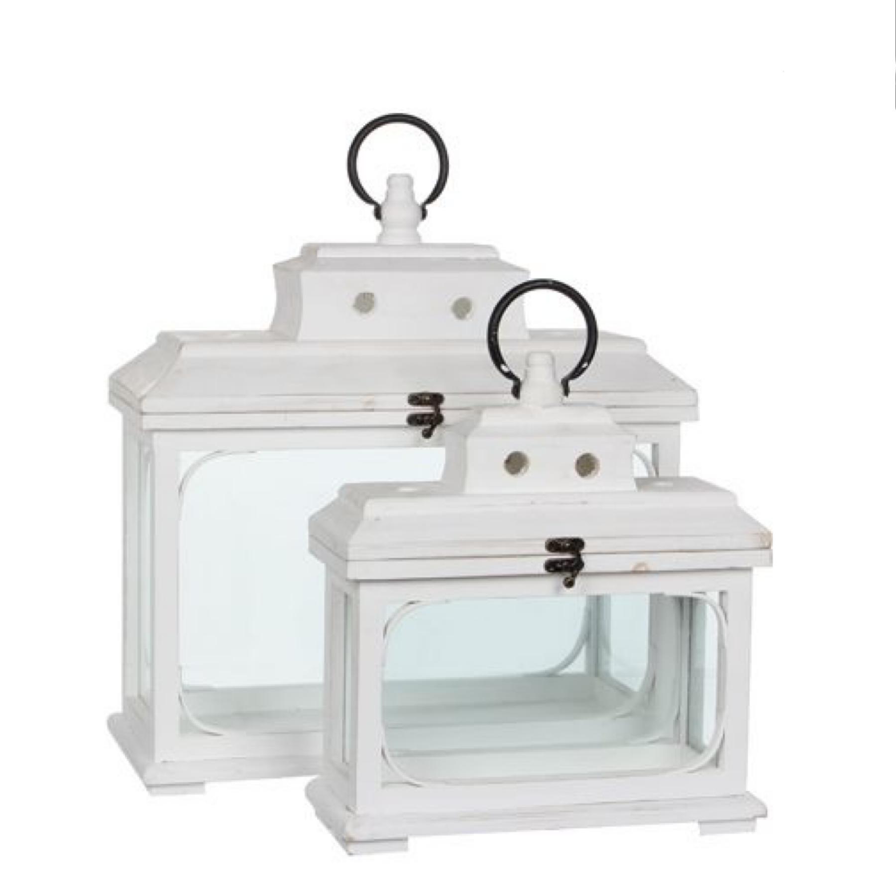 Mica Decorations Lantaarn wit set van 2