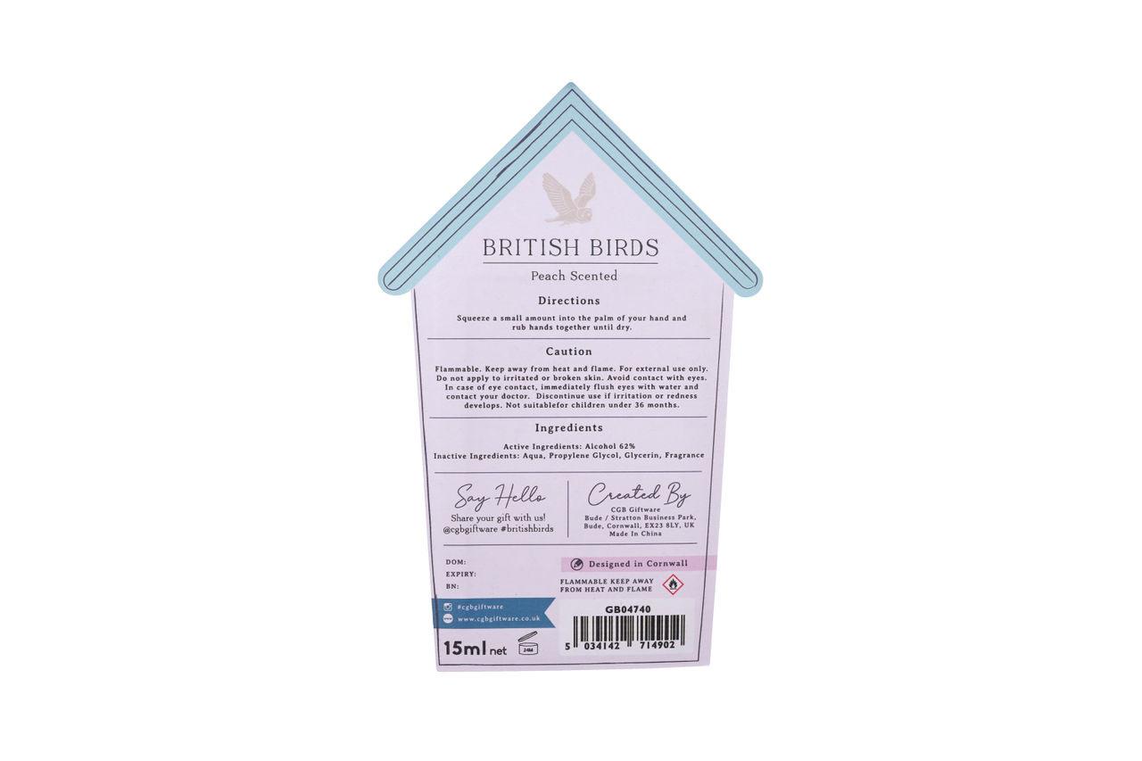 CGB Giftware Desinfectie handgel British Birds Peach
