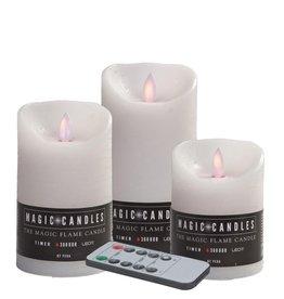 LED kaars wax remote set/3 wit