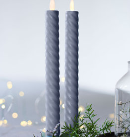 Sirius Home Sara Tall Wave 2-pack Dinner Candles grey Ø:2 H:25cm movable flame