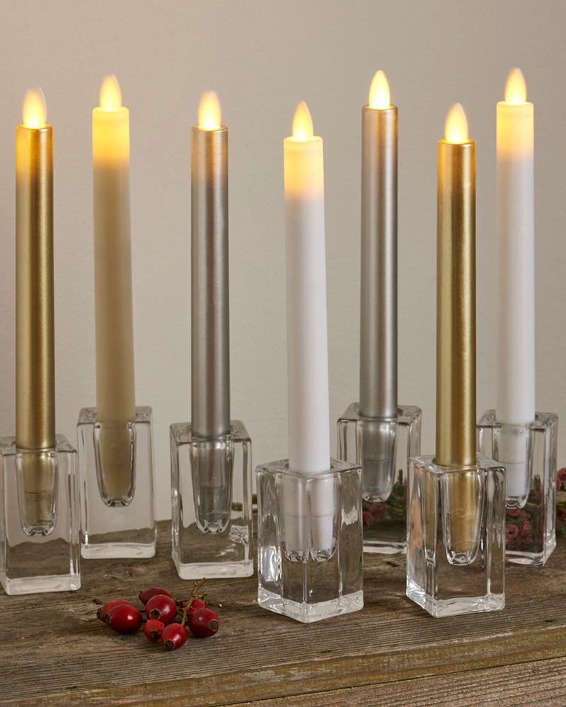 Sirius Home Sara Tall 2-pack Dinner Candles White Ø:2 H:25cm movable flame