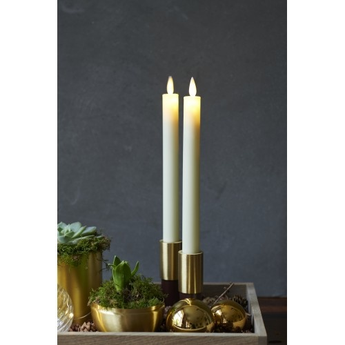 Sirius Home Sara Tall 2-pack Dinner Candles Almond Ø:2 H:25cm movable flame