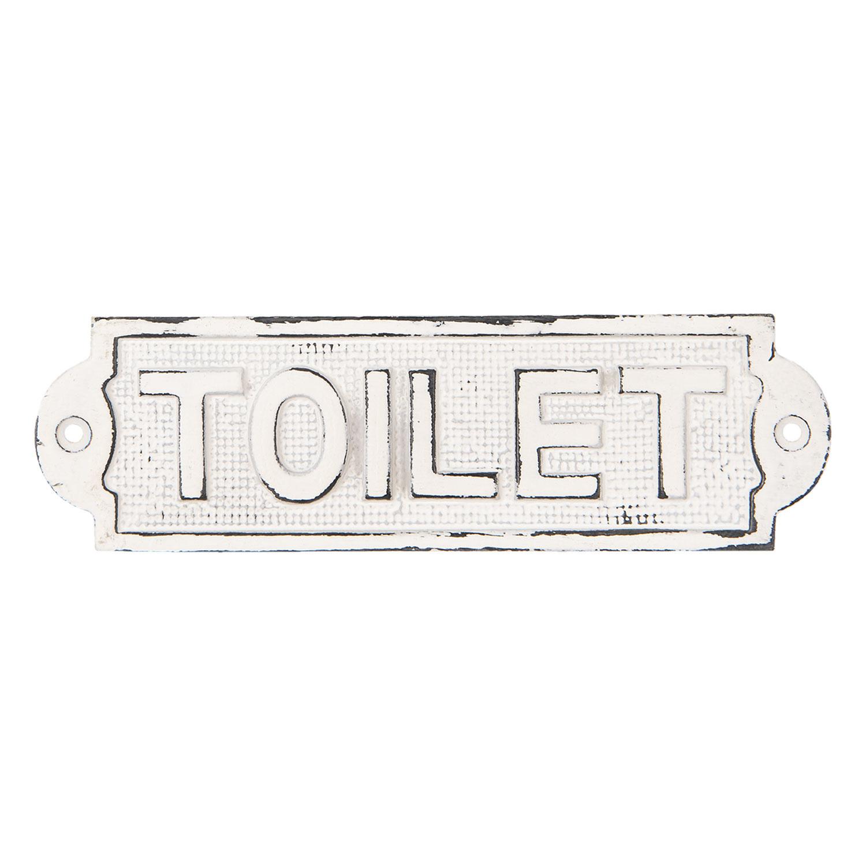 Clayre & Eef Tekstbord Toilet ijzer wit