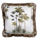 Mars & More Kussen fluweel gouden franjes palmboom wit 45x45 cm