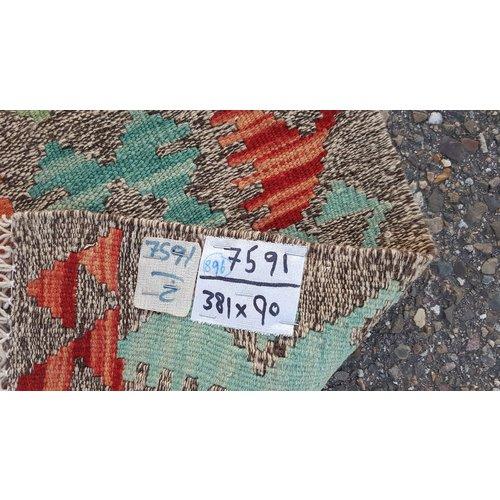 kelim kleed   381x90 cm vloerkleed tapijt kelims hand geweven