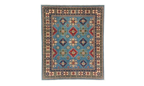 unique knotted by hand kazak rug