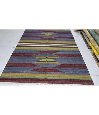 Beautiful Modern Handwoven Geometric Afghan Kilim Rug 301x216 cm Multi color Rectangle Tribal 100% Wool