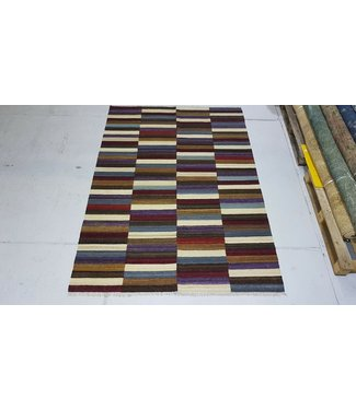 Fantastic Checked Handwoven Geometric Afghan Kilim Rug 267x185 cm Multi color Rectangle Tribal 100% Wool