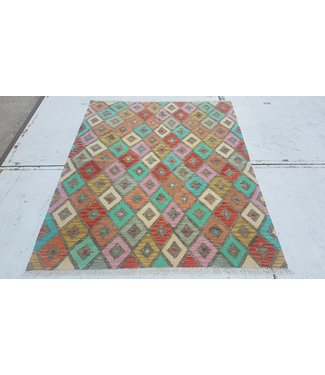 Fantastic Oriental Handwoven Afghan Kilim Rug 196x156 cm Multi color Rectangle Tribal 100% Wool