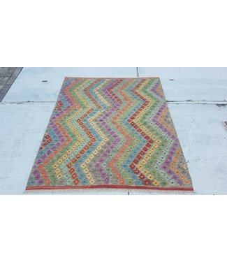 Beautiful Oriental Handwoven Striped Afghan Kilim Rug 187x153 cm Multi color Rectangle Tribal 100% Wool