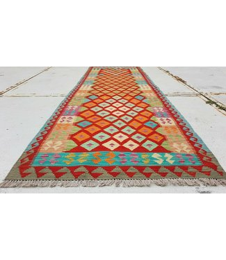 Fantastic Oriental Handwoven Geometric Afghan Kilim Rug 298x94 cm Multi color Rectangle Tribal 100% Wool