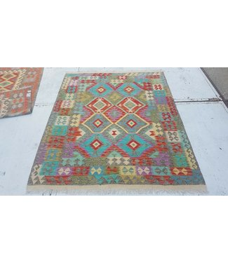 Beautiful Oriental Handwoven Geometric Afghan Kilim Rug 199x160 cm Multi color Rectangle Tribal 100% Wool