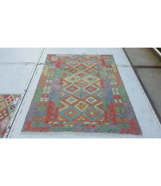 Fantastic Oriental Handwoven Geometric Afghan Kilim Rug 200x155 cm Multi color Rectangle Tribal 100% Wool