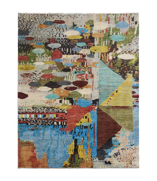 Hand knotted 9'6x6'9 Modern  Art Deco Wool Rug 295x212 cm  Abstract Carpet  design135