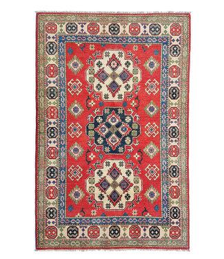 Hand knotted  6'1x4'1 wool kazak area rug 186x127 cm  Oriental carpet