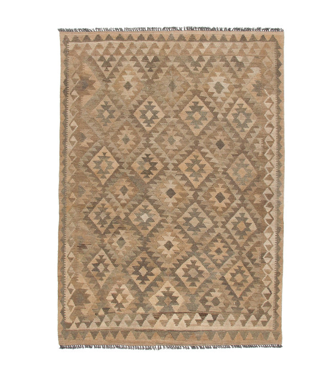 kelim kleed 205x146  cm vloerkleed tapijt kelims hand geweven Grijs Natural kelim