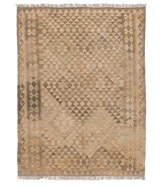 Vloerkleed Tapijt Kelim 201x156 cm Kleed Hand Geweven Kilim Grijs Natural kelim