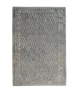 Vloerkleed Tapijt Kelim 304x206 cm Kleed Hand Geweven Kilim Grijs Natural kelim