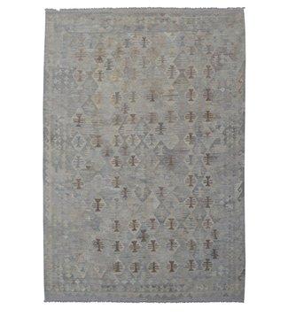 Vloerkleed Tapijt Kelim 297x212 cm Kleed Hand Geweven Kilim Grijs Natural kelim