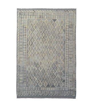 Vloerkleed Tapijt Kelim 300x204 cm Kleed Hand Geweven Kilim Grijs Natural kelim