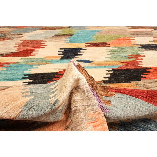 Handgeknüpft Modern Art Deco 247x198 cm Abstrakt Wolle Teppich multi