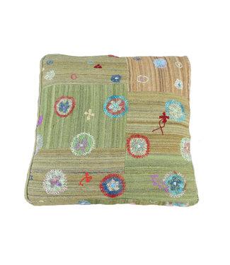 70x70 x 15 cm Handmade pouf Floor cushion kelim kilim Ottoman footstool Vintage