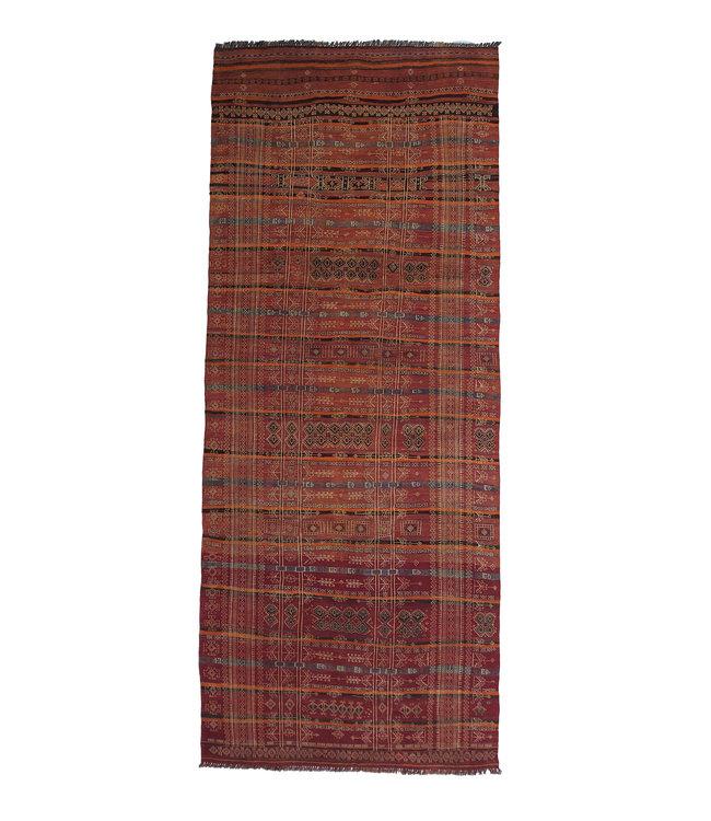 Handgemaakt Oosters Kelim Wol Vloerkleed 407x160 cm