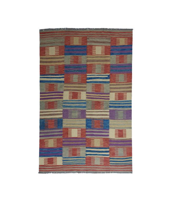 Handgemaakt Modern Kelim Wol Vloerkleed 294x200 cm