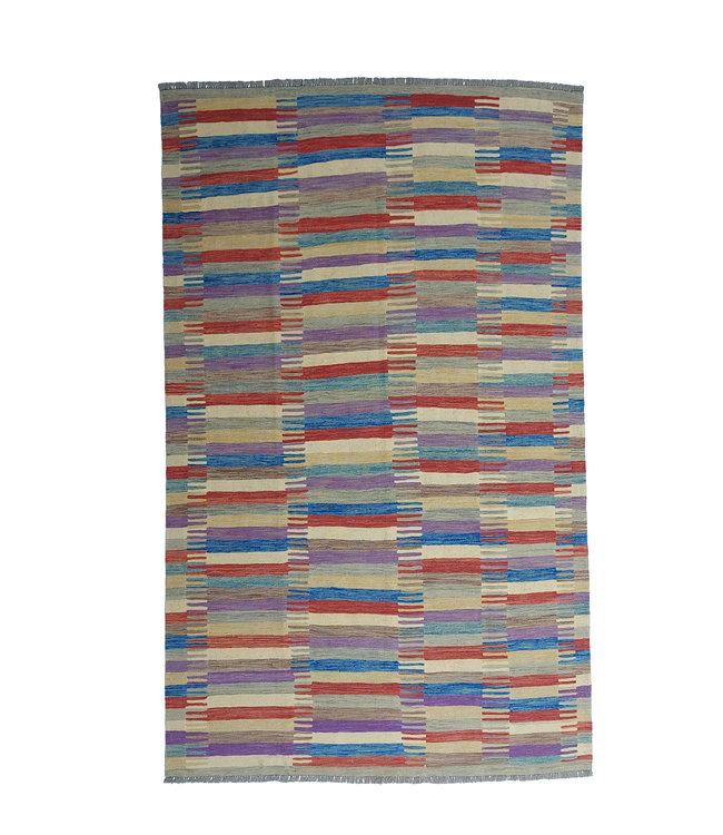 Handgemaakt Modern Kelim Wol Vloerkleed 296x198 cm