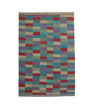9'58x6'60 Sheep Wool Handwoven Multicolor Modern Afghan kilim Area Rug