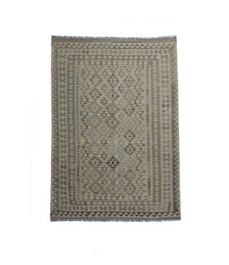 9'78x6'76  Sheep Wool Handwoven Natural Gray Modern Afghan kilim Area Rug