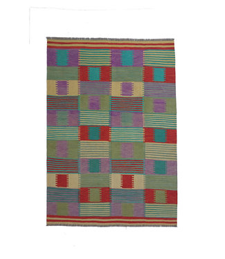 9'65x6'66 Sheep Wool Handwoven Multicolor Traditional Afghan kilim Area Rug