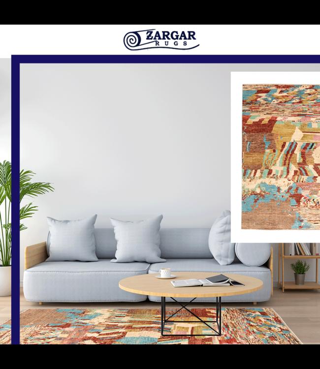 Handgeknoopt Modern Art multikleur tapijt 244x199 cm Wol kleed vloerkleed