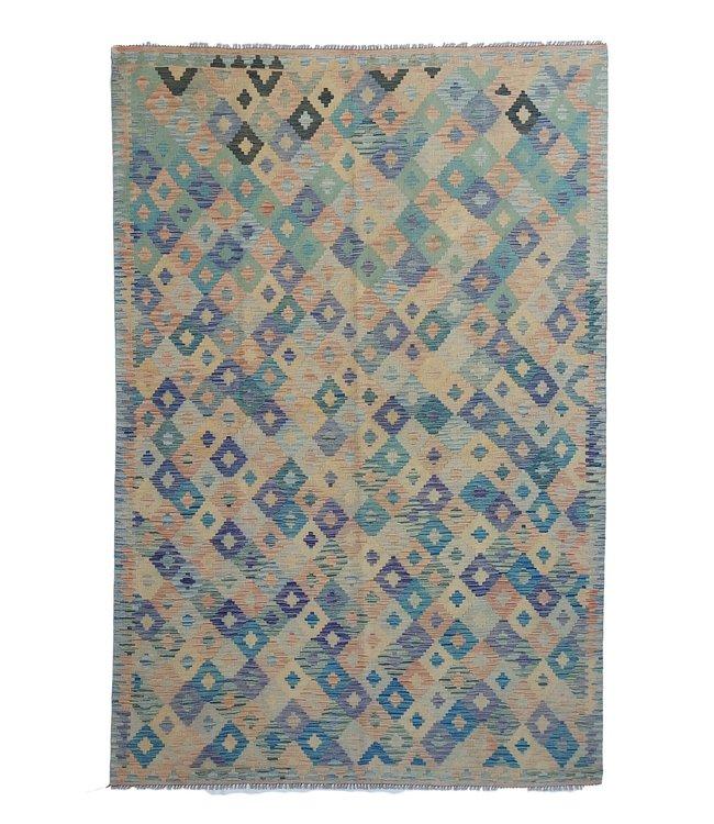 Handgemaakt Oosters Kelim Wol Vloerkleed 302x201 cm