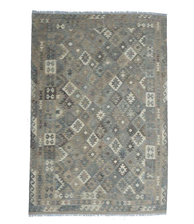 exclusive  Vloerkleed Tapijt Kelim 286x198 cm Natural Kleed Hand Geweven Kilim