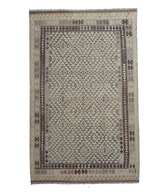 exclusive  Vloerkleed Tapijt Kelim 305x198 cm Natural Kleed Hand Geweven Kilim