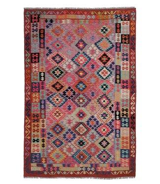 exclusive  Vloerkleed Tapijt Kelim 304x205 cm Multicolor Kleed Hand Geweven Kilim