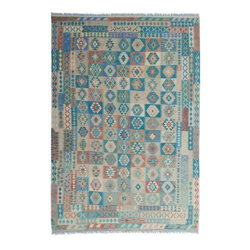 exclusive  Vloerkleed Tapijt Kelim 354x251 cm Multicolor Kleed Hand Geweven Kilim