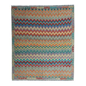 exclusive  Vloerkleed Tapijt Kelim 292x255 cm Multicolor Kleed Hand Geweven Kilim
