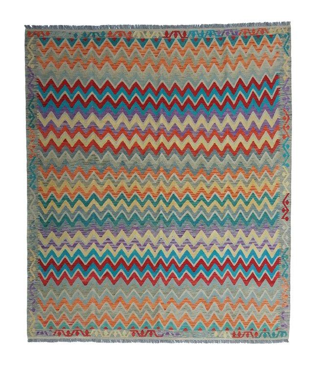 exclusive  Vloerkleed Tapijt Kelim 292x255 cm Multicolor Kleed Hand Geweven Kilim